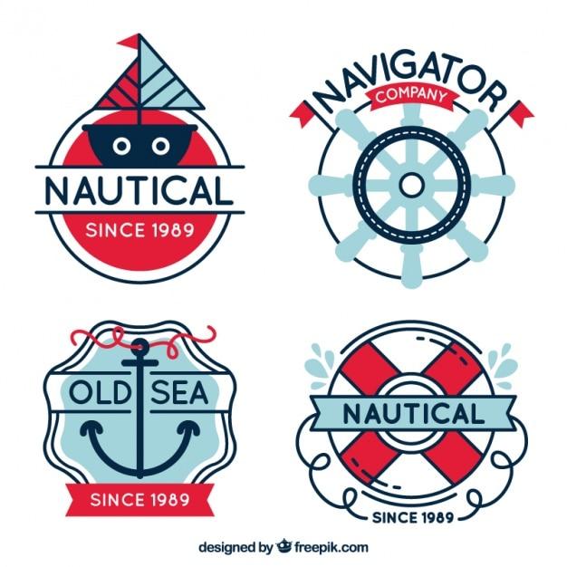 Emblemas impressionantes com artigos do marinheiro Vetor grátis