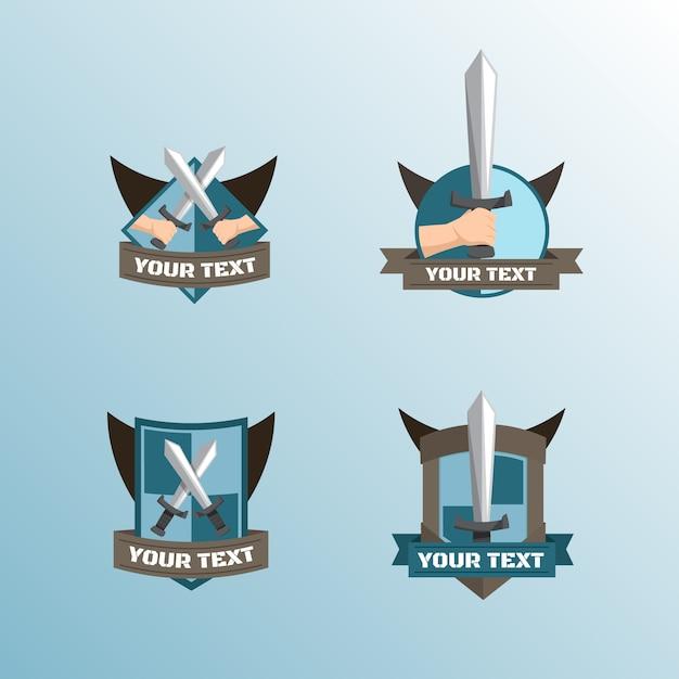 Emblemas medival com espadas e escudos Vetor Premium