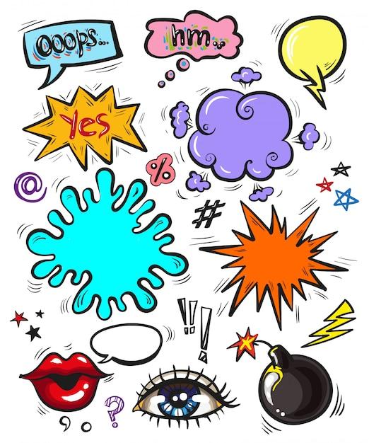 Emblemas modernos de pop art, patches e bolhas do discurso Vetor Premium