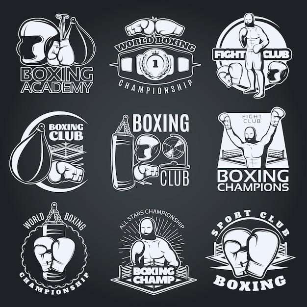 Emblemas monocromáticos de clubes e competições de boxe com luvas de esportista sacos de pancadas Vetor grátis