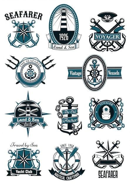 Emblemas náuticos vintage com itens marinhos Vetor Premium