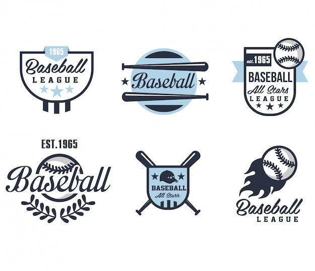 Emblemas ou distintivos de beisebol com vários modelos Vetor Premium
