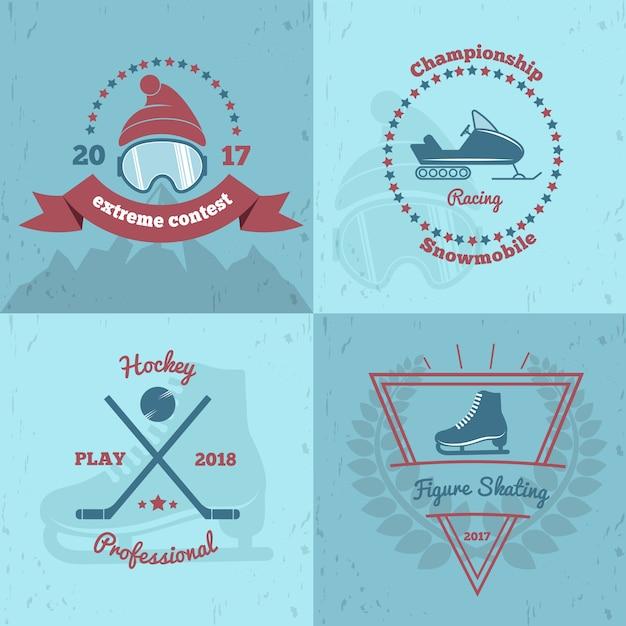 Emblemas para esportes de inverno 2x2 Vetor grátis