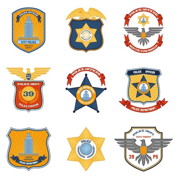 Emblemas policiais coloridos Vetor grátis