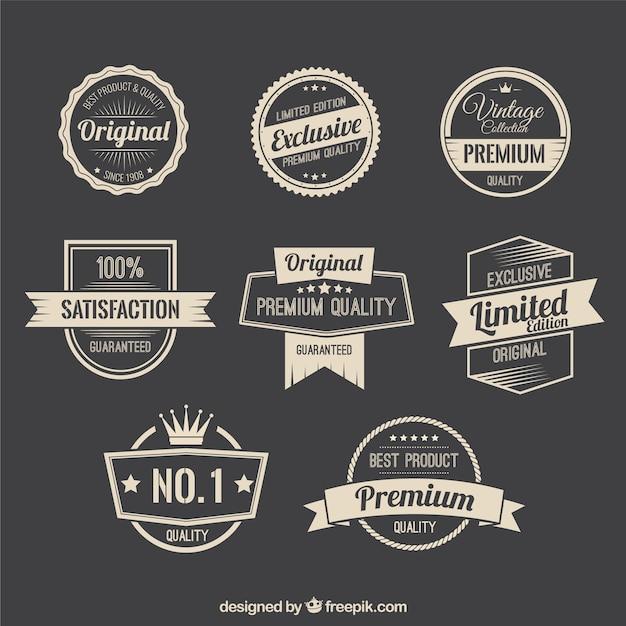 Emblemas promoção retro Vetor Premium
