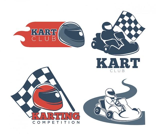 Emblemas promocionais de kart clube conjunto com capacetes de proteção Vetor Premium