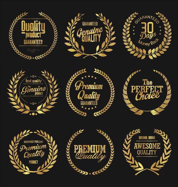Emblemas retrô Vetor Premium