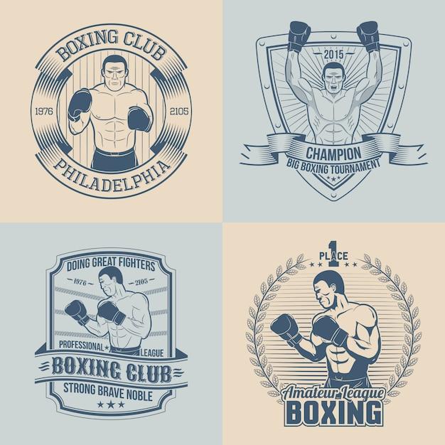 Emblemas sobre o tema boxe - redondo, triangular, retangular. logotipos de esportes com boxer. Vetor Premium