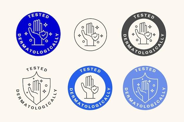 Emblemas testados dermatologicamente Vetor grátis