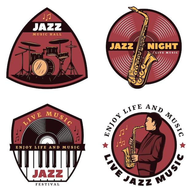 Emblemas vintage coloridos de jazz ao vivo Vetor grátis