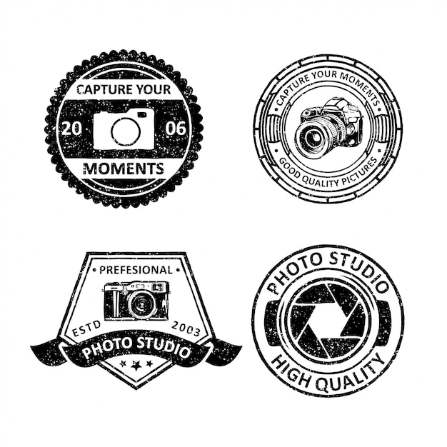 Emblemas vintage da fotografia Vetor Premium