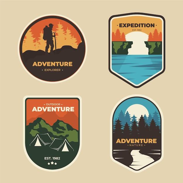 Emblemas vintage de campismo e aventuras Vetor grátis