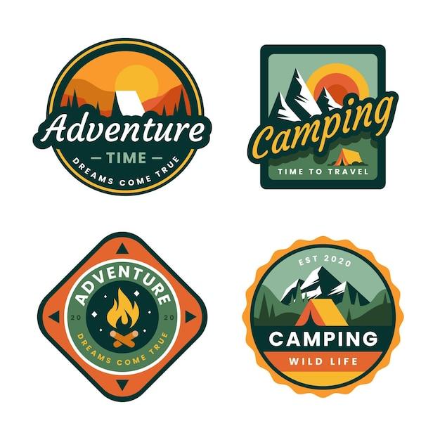 Emblemas vintage de campismo e aventuras Vetor Premium