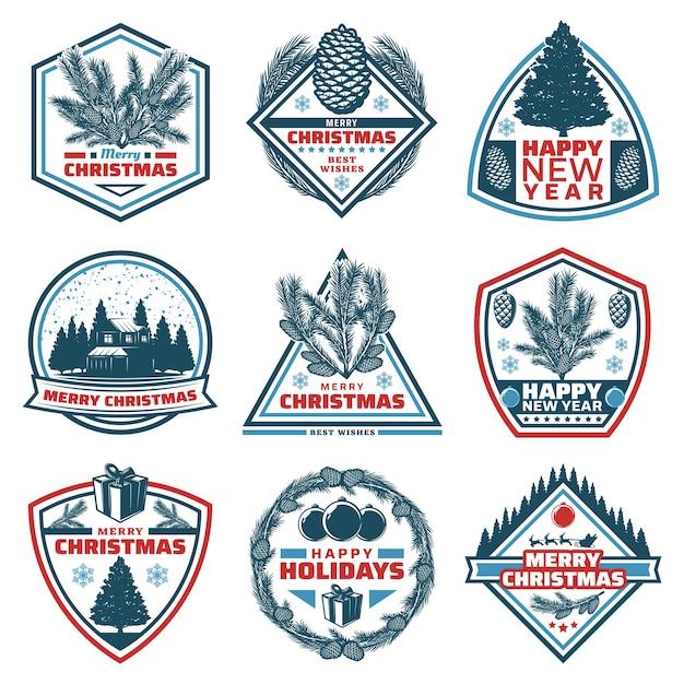 Emblemas vintage de feliz natal com inscrições coníferas árvores ramos cones casa da floresta apresenta bolas Vetor grátis