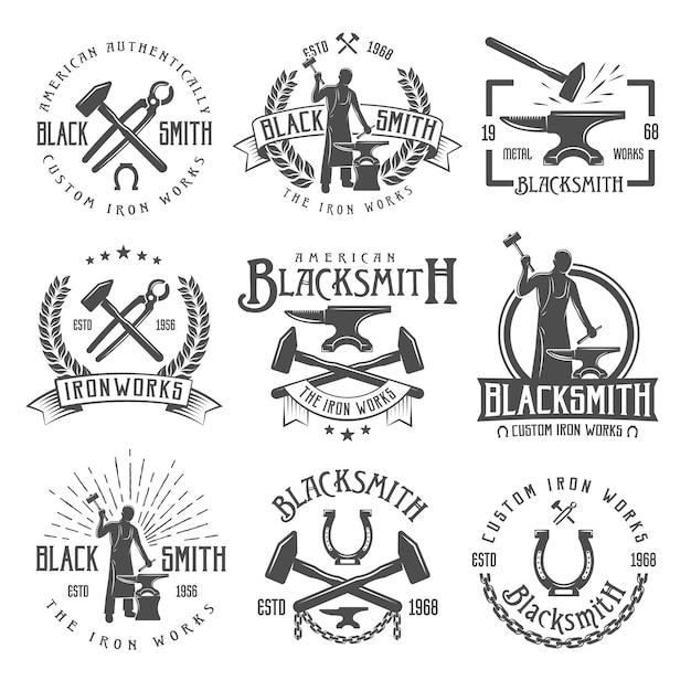 Emblemas vintage de ferreiro Vetor grátis