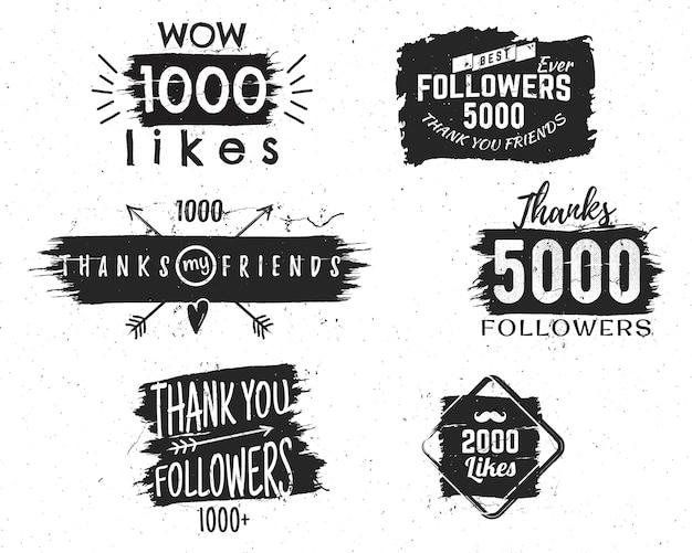 Emblemas vintage e sinais com diferentes citações de mídias sociais, obrigado pelos seguidores Vetor Premium