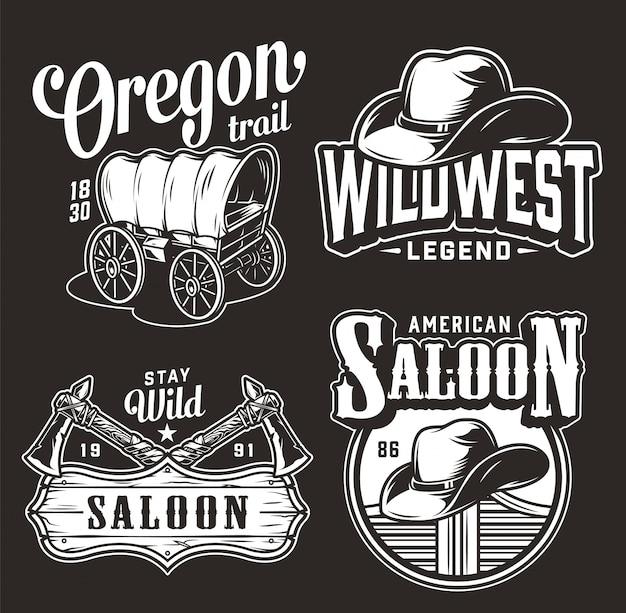 Emblemas vintage monocromático oeste selvagem Vetor grátis