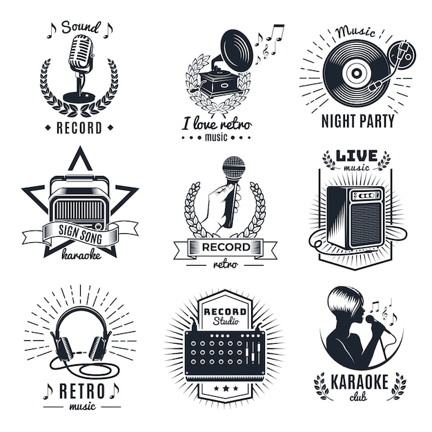 Emblemas vintage monocromáticos de elementos de karaokê Vetor grátis