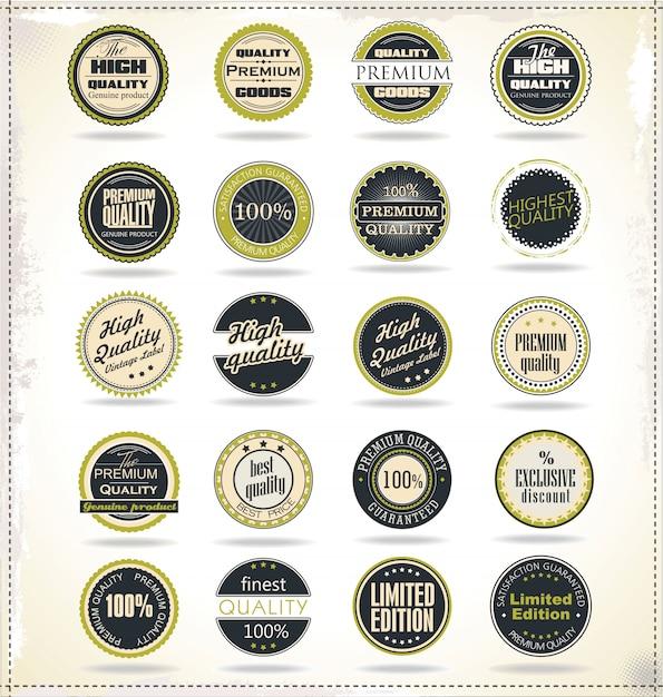 Emblemas vintage retrô e rótulos Vetor Premium