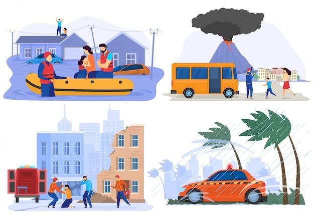 Emergência evacuar pessoas de desastres naturais, inundações, terremotos, ilustração vetorial Vetor Premium