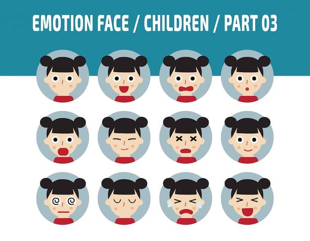 Emoções de crianças sentimentos de cara de avatar. Vetor Premium