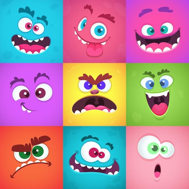 Emoções de monstros. máscaras de rostos assustadores com boca e olhos de alienígenas monstros emoticon conjunto Vetor Premium