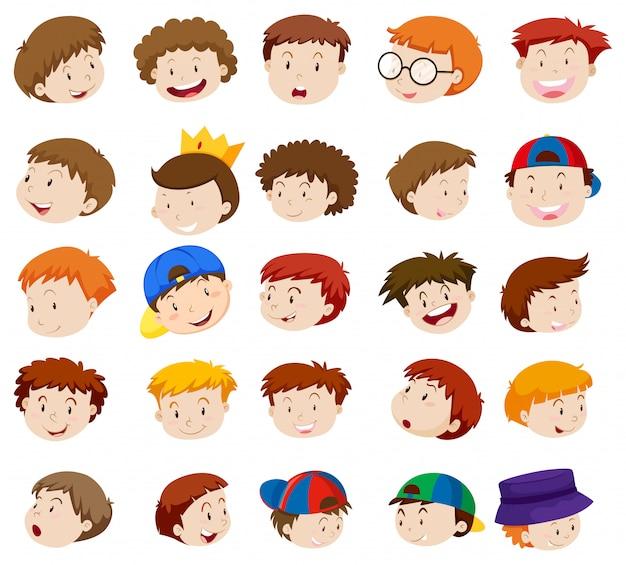 Emoções diferentes de meninos Vetor grátis