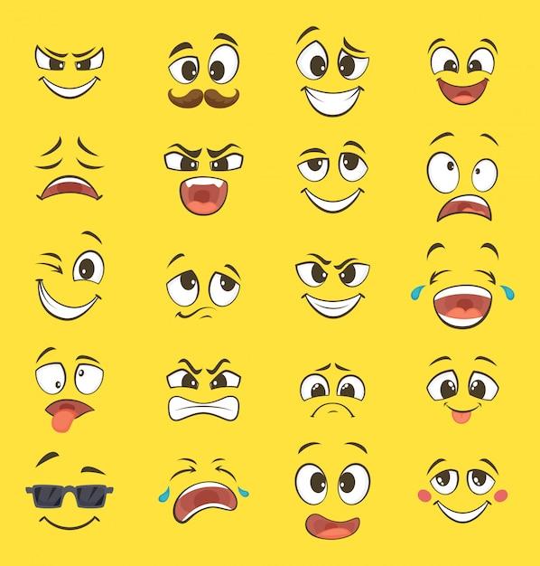 Emoções dos desenhos animados com caretas com olhos grandes e riso. emoticons de vetor em fundo amarelo Vetor Premium