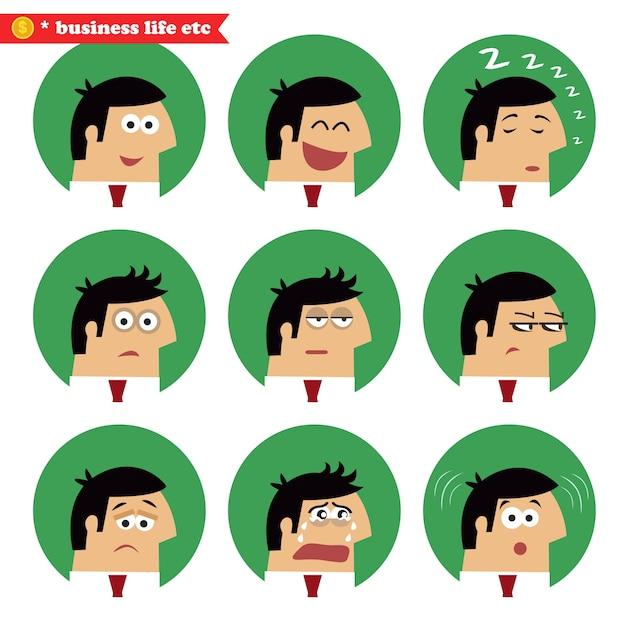 Emoções faciais de negócios Vetor grátis