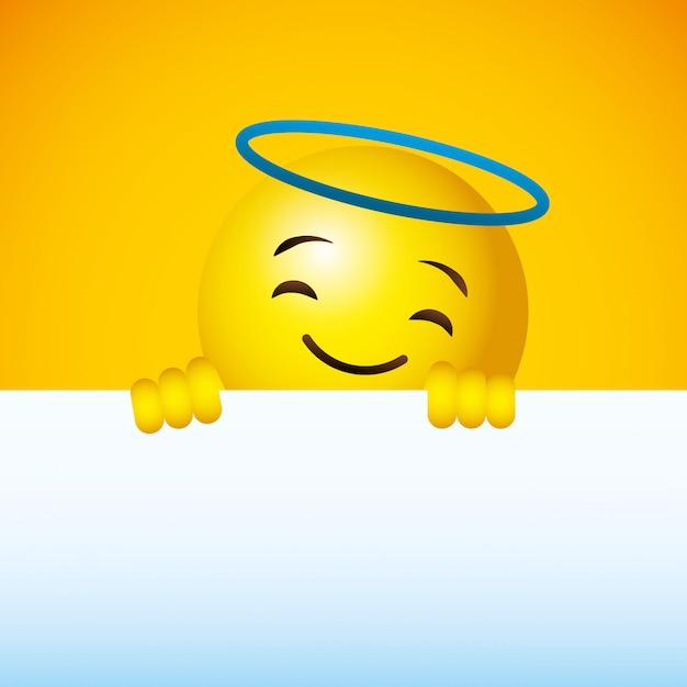 Emoji amarelo redondo fundo de rosto Vetor Premium