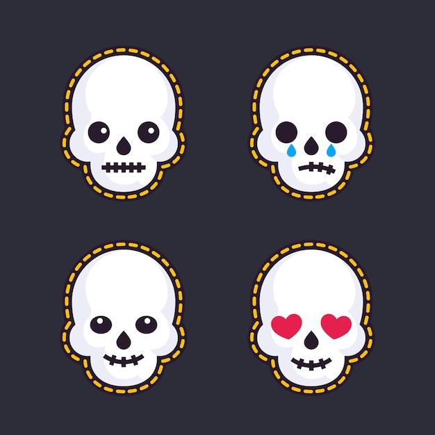 Emoji com caveiras Vetor Premium