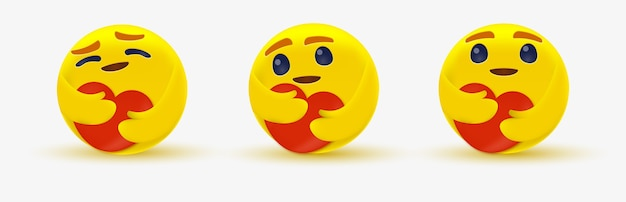 Emoji de cuidado para emoticon de rede social com um coração vermelho com ambas as mãos - olhos brilhantes se abraçando - mostrando carinho Vetor Premium