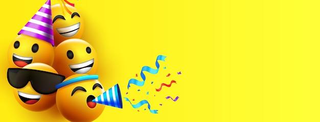 Emoji emoticon personagem de fundo ou fundo de ano novo Vetor grátis