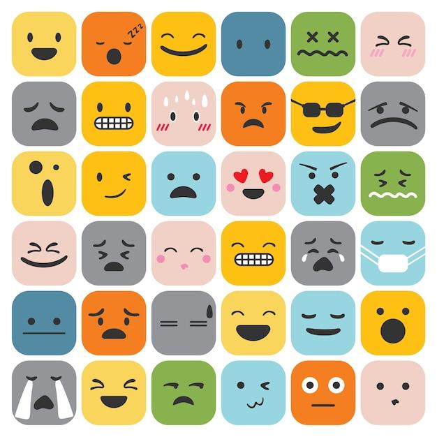 Emoji emoticons definir coleção de sentimentos de expressão de rosto Vetor grátis