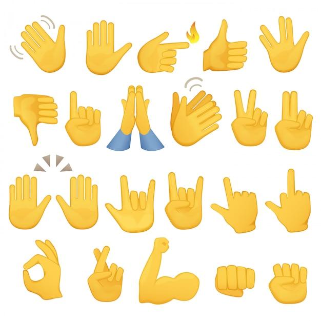 Emoji gestos mão ícones Vetor Premium