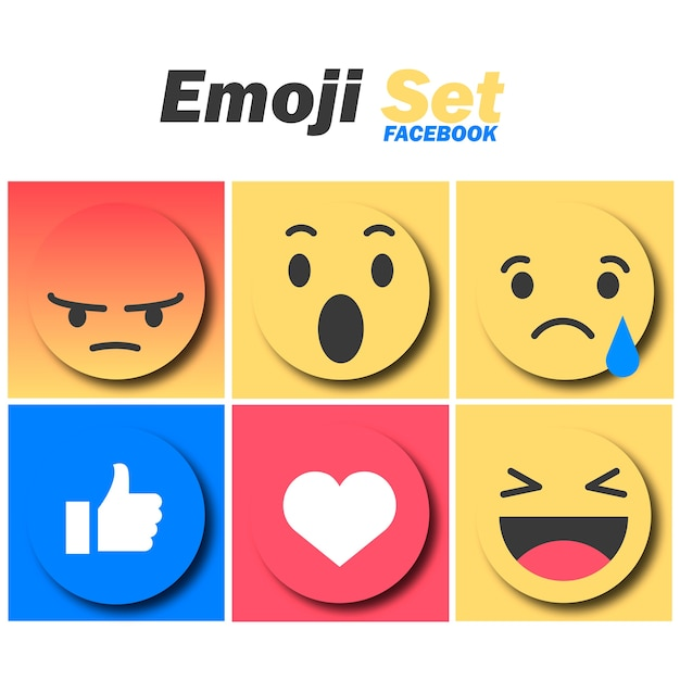 Emoji set facebook Vetor Premium