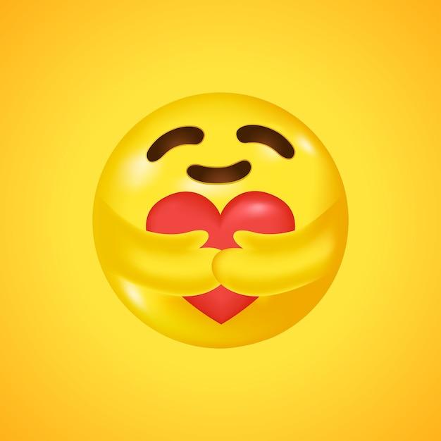 Emoji social media care abraçando um coração. símbolo de cuidado e apoio. grande sorriso em 3d. . Vetor Premium