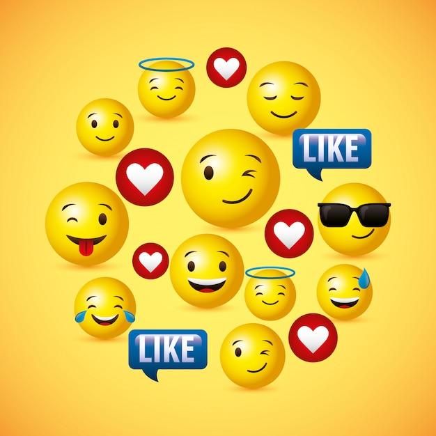 Emojis amarelo rosto redondo fundo Vetor Premium
