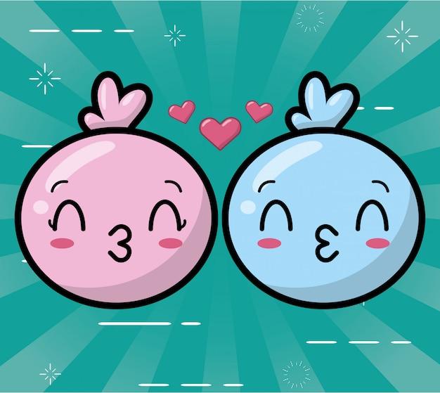Emojis kawaii feliz azul e rosa Vetor grátis