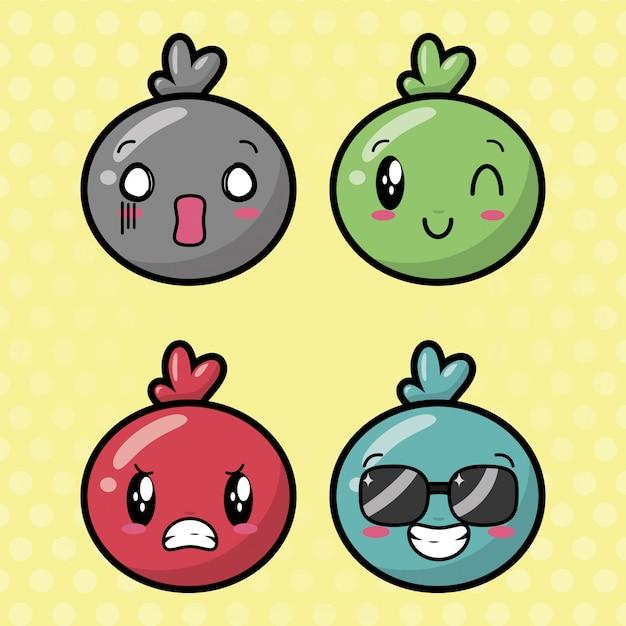 Emojis kawaii feliz, rostos de desenhos animados Vetor grátis
