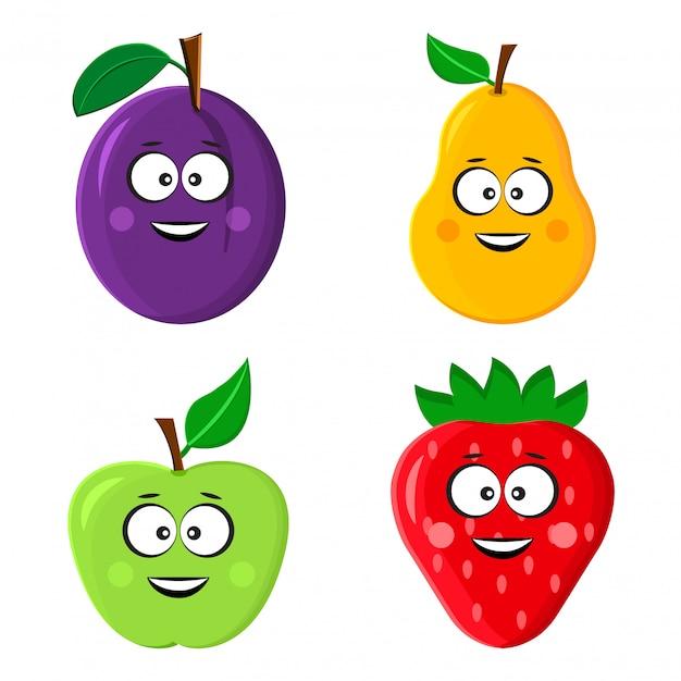 Emoticon engraçado fruta. ameixa, pêra, maçã e morango. Vetor Premium