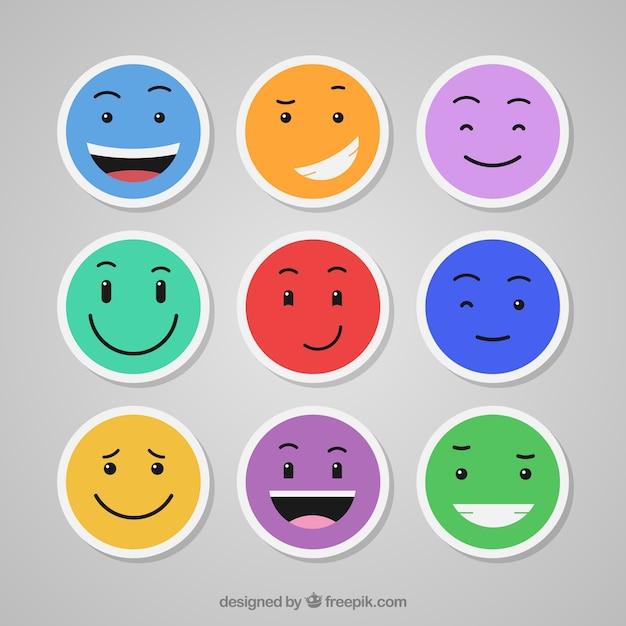 Emoticons coloridas ajustadas Vetor grátis