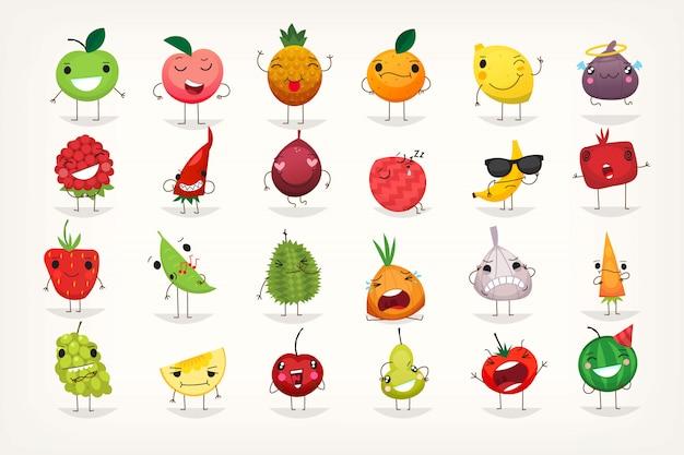 Emoticons de frutas Vetor Premium