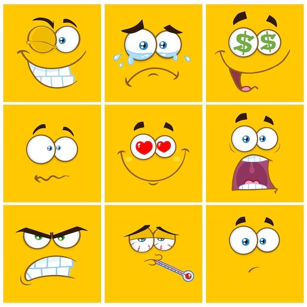 Emoticons de quadrados amarelos dos desenhos animados com conjunto de expressão Vetor Premium
