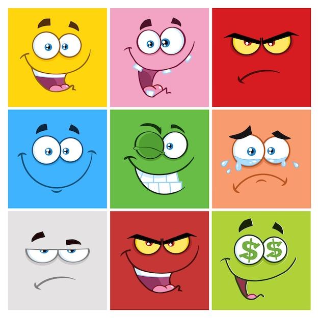 Emoticons de quadrinhos desenhos animados com conjunto de expressão Vetor Premium