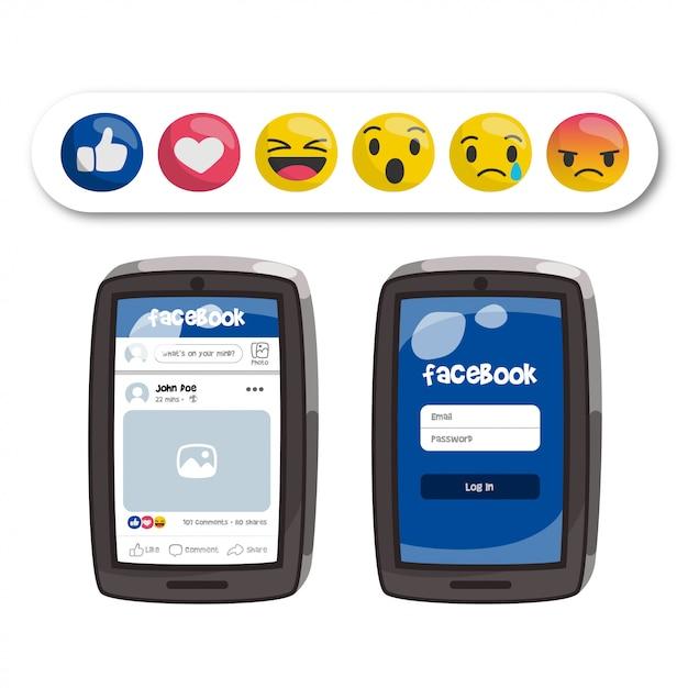 Emoticons do facebook e interface do aplicativo no celular Vetor Premium