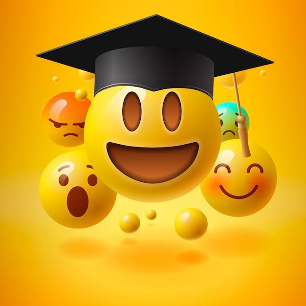 Emoticons no chapéu de formatura. recursos educacionais, cursos de aprendizagem on-line, educação a distância, diploma universitário, chapéu de formatura, tutoriais de e-learning, ilustração Vetor Premium