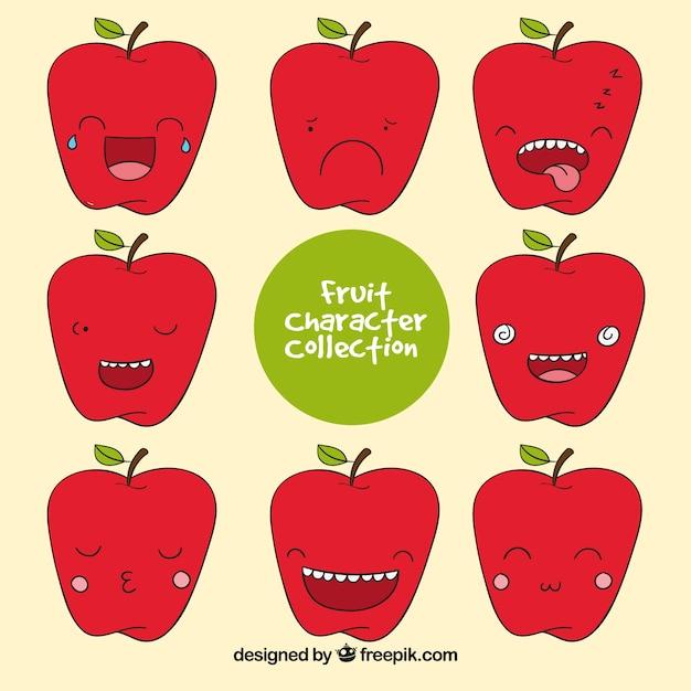 Empacotado mão, maçã, personagem, expressivo, caras Vetor grátis