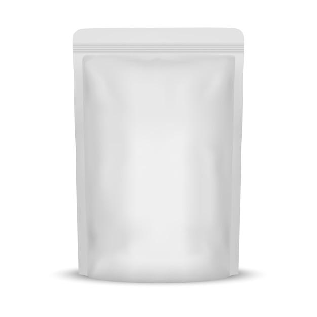 Empacotamento branco vazio do saco do alimento da folha Vetor Premium