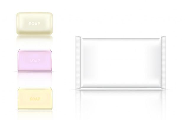 Empacotamento cosmético da barra realística do sabão 3d Vetor Premium